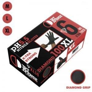 6 mil Nitrile Black Gloves With Diamond Grip