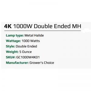 Growers Choice 1000W DE MH 4K Bulb Specs