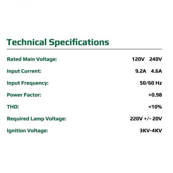 Growers Choice 1000W DE HPS Complete Fixture Specs