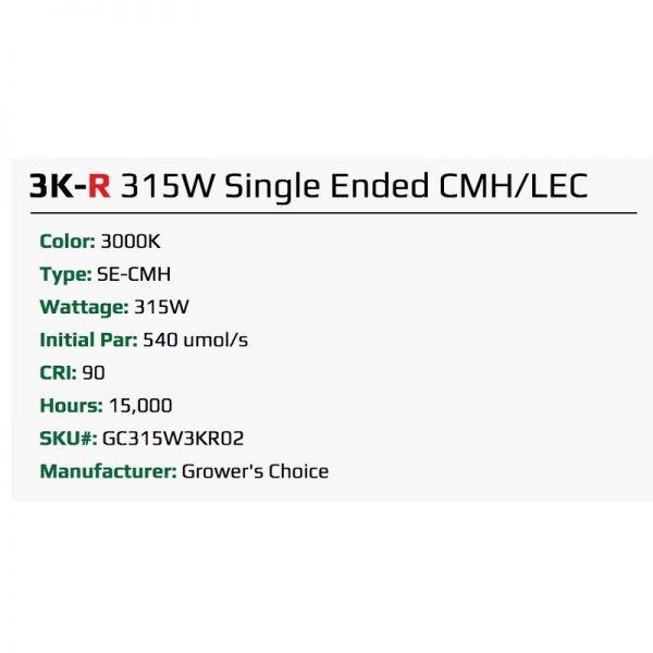 Growers Choice 315 watt CMH Bulb 3100K-R Specs