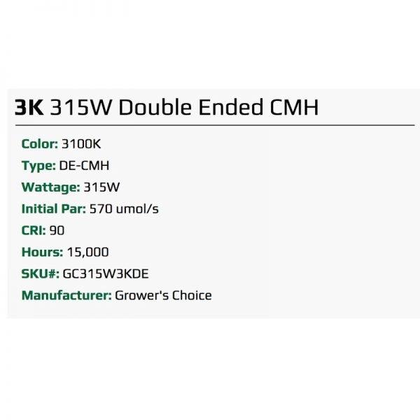 Growers Choice DE 315 watt CMH Bulb 3K Specs