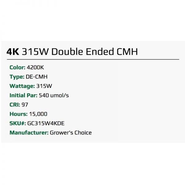 Growers Choice DE 315 watt CMH Bulb 4K Specs