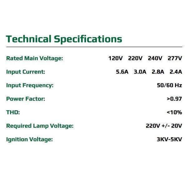 Growers Choice DE 630 watt CMH Ballast Reflector Kit Specs