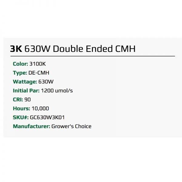 Growers Choice DE 630 watt CMH Bulb 3K Specs