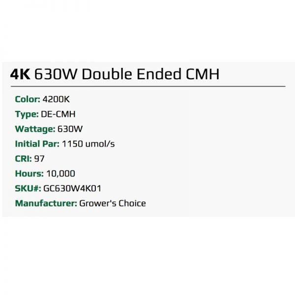 Growers Choice DE 630 watt CMH Bulb 4K Specs