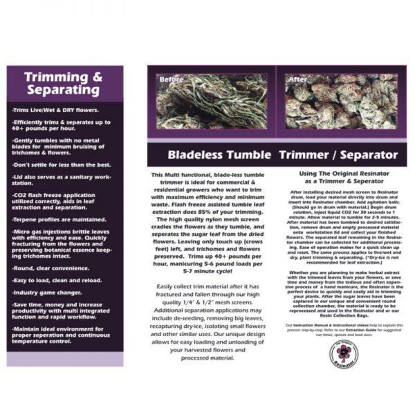 Resinator Trimmer Spec Sheet