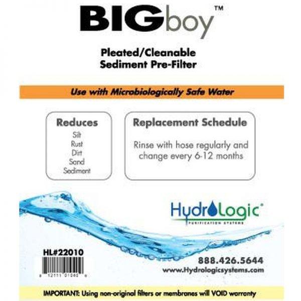 HydroLogic Big Boy Sediment Filter Promo