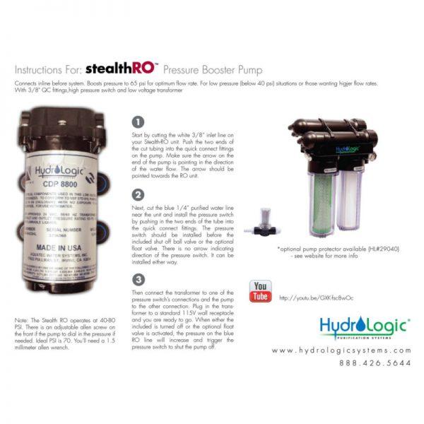 HydroLogic Stealth Booster Pump Specs