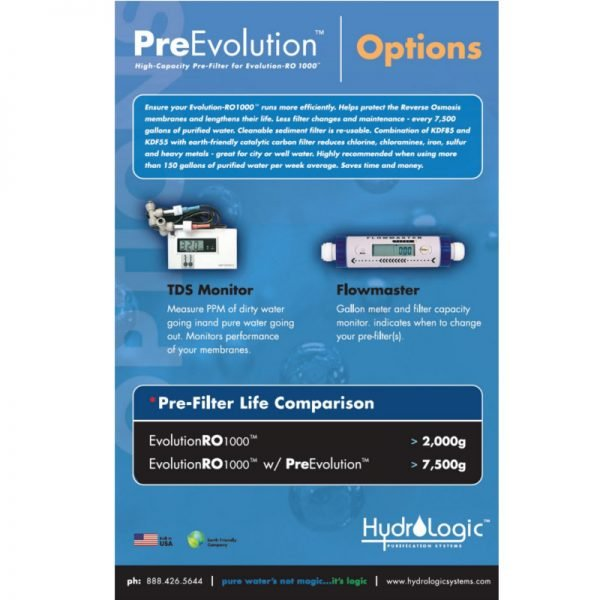 Hydrologic RO1000 Pre Filter options